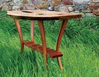 """The Yellowstone"" hall table, made of curly mango, paduak, mahogany, and lacewood."