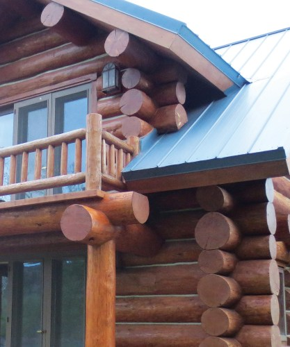 All logs expand and contract, so it's vital to make sure the seals are in good shape to prevent them from absorbing water. Photo courtesy of Montana Log Restoration