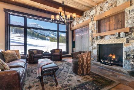 """The idea was to open the back of the house to views of Lone Peak by using a low shed roof, while keeping a low profile from the ski hill,"" Brooks said of the ski lounge."