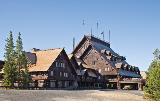 The Old Faithful Inn was designed by architect Robert C. Reamer to feel as though it had naturally sprung from the earth. The scattered dormers and alternating rooflines are meant to reflect the disorganization of nature.