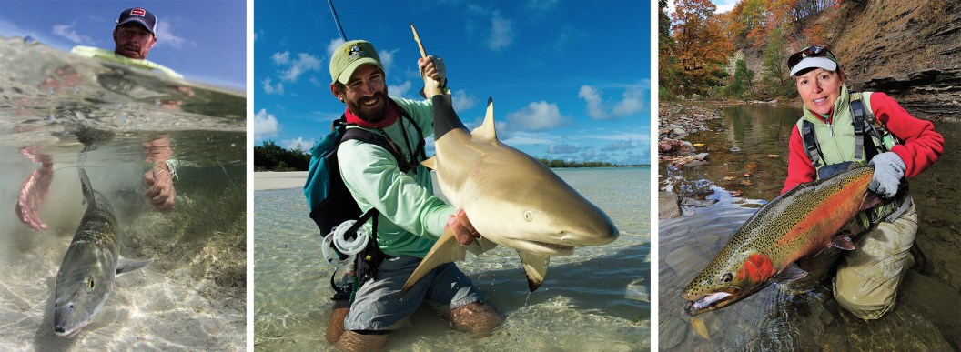 Belizean guide Wil Flack sets free what he loves in hopes it will some day come back (Ambergris Caye, Belize). By Jim Klug | Risky business. Carefully releasing a blacktip shark in the Seychelles. By Jim Klug | Cathy Beck with a fall Erie steelhead. By Barry Beck