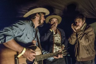 Cruz Contreras of The Black Lillies, Frank Bronson of The Bus Driver Tour and Jonathan Henley on harmonica.