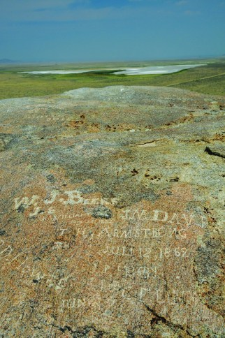 Independence Rock was a pre-social media information board for pioneers, who used it to communicate with friends and family following them. Photo by Jeff Erickson