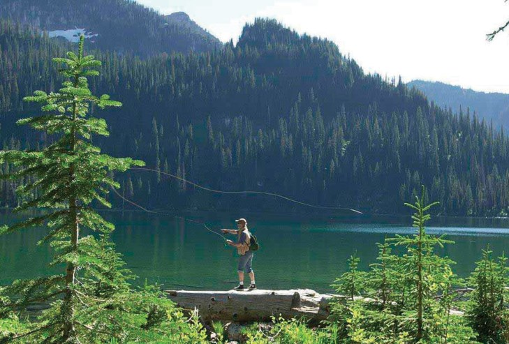 Fly fishing on Cold Lake in the Mission Mountain Range.