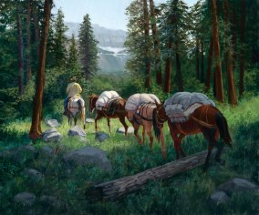 """""""Packing into Glacier Park""""   Sheila Cottrell   Oil on Linen   20"""" x 24"""""""