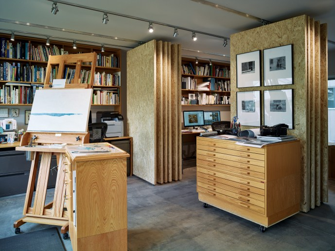 Sliding panels allow the studio to be converted to a gallery space.