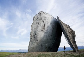 """""""Inverted Portal"""" by Ensamble Studio, construction and installation by On Site Management, provides a kind of gateway to the extraordinary landscape on display to the south. above"""