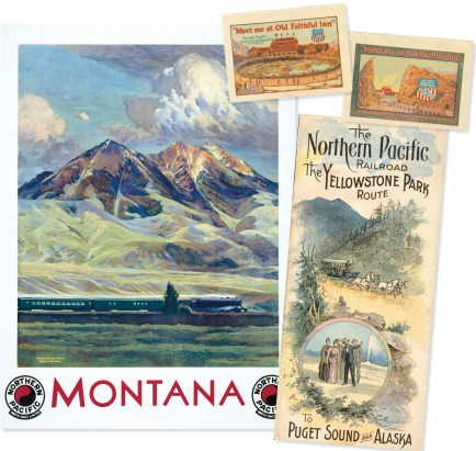 Northern Pacific Railway ad campaigns promised adventure and wide open country on the Yellowstone Park Route in the early 1900's. This poster (1930) by Gustav Krollmann depicts the Yellowstone Comet southbound for Gardiner through Paradise Valley.