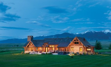 The classic spread of the stone and timber home pays homage to the ranch style of the Jefferson Valley and to the expanse of the Tobacco Root Mountains that anchor it in the east.