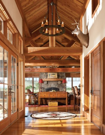 Hunt's Timbers from St. Ignatius, Montana, provided the prominent timbers that frame the vaulted ceilings of the main living space.