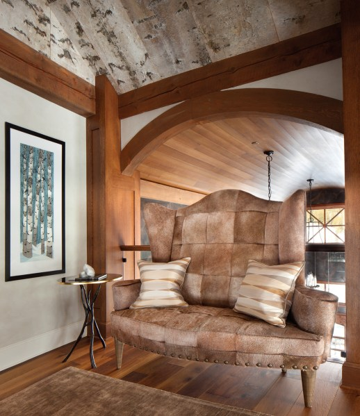 The entryway leading to the master bedroom was covered in aspen bark sourced from Earth Elements Design Center.