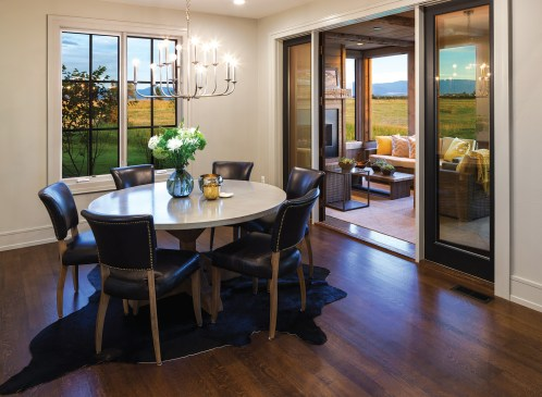 Generous windows on the south side of the house afford views of the Spanish Peaks.