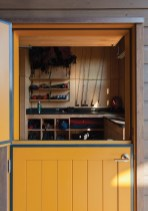 An organized gear closet represents the family's passion for a variety of outdoor adventures.