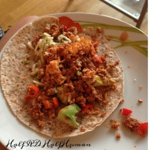 Soy chorizo with egg whites, avocado, and bell peppers
