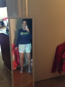 """Prepping for a """"mid-60's run this week"""" loose long sleeve (so I can roll up if I get warm) with shorts"""