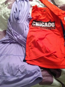 A few long sleeved shirts I adore.  The one on the left is Under Armour and I adore it.  The orange one on the right is a new one- from my last half- but I really like it