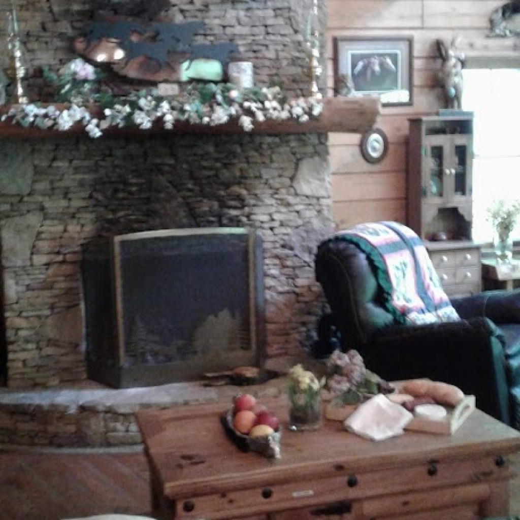 View of fireplace from Breakfast bar