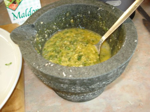 pesto in my beloved pestle and mortar