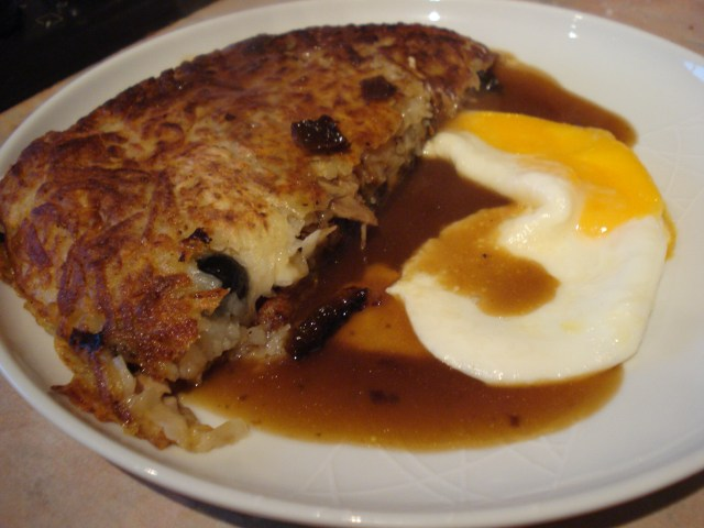veal rosti pancake with an egg
