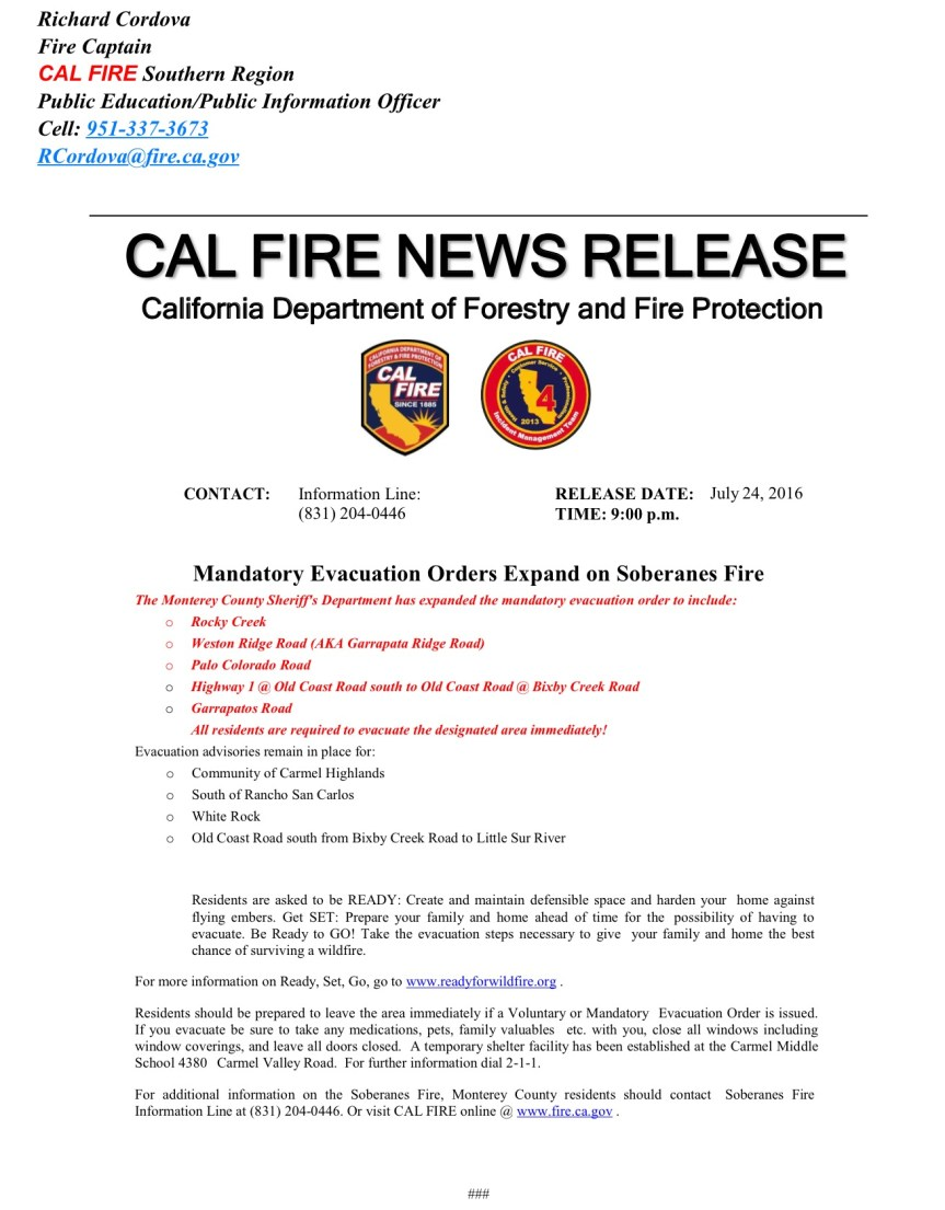 NEW MANDATORY EVACUATION ORDERS ISSUED FOR TONIGHT & Revised Fact Sheet, 7/24/16