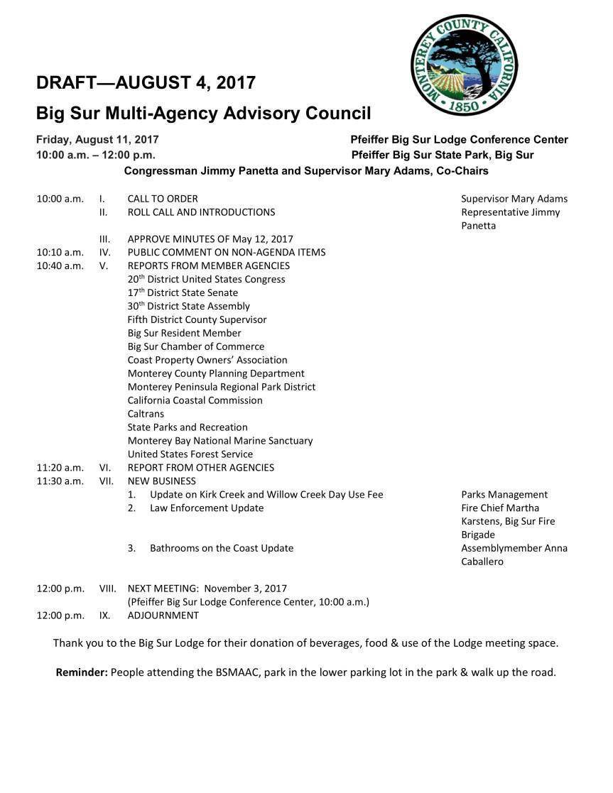 BSMAAC Meeting draft agenda
