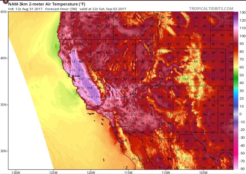 Weather West CA temps map for Sat