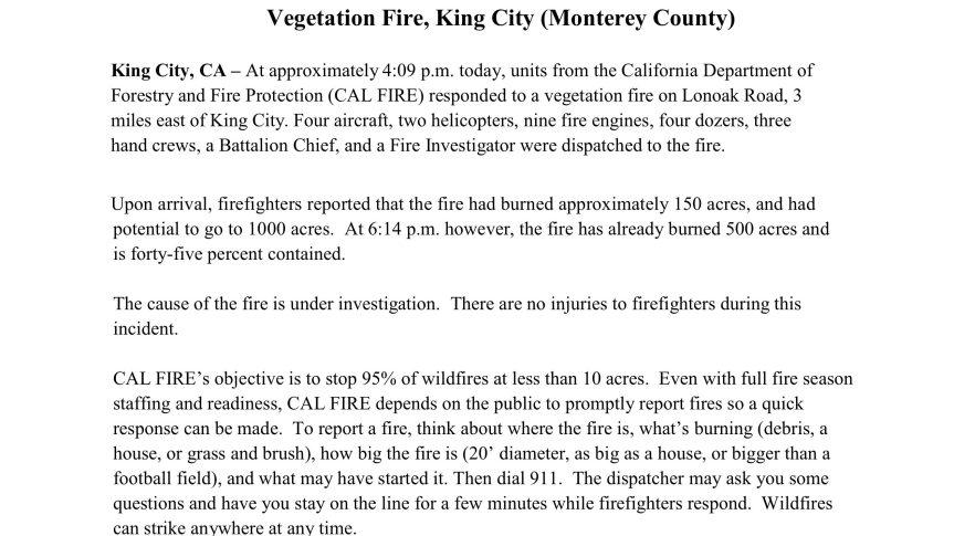 Lone oak Fire