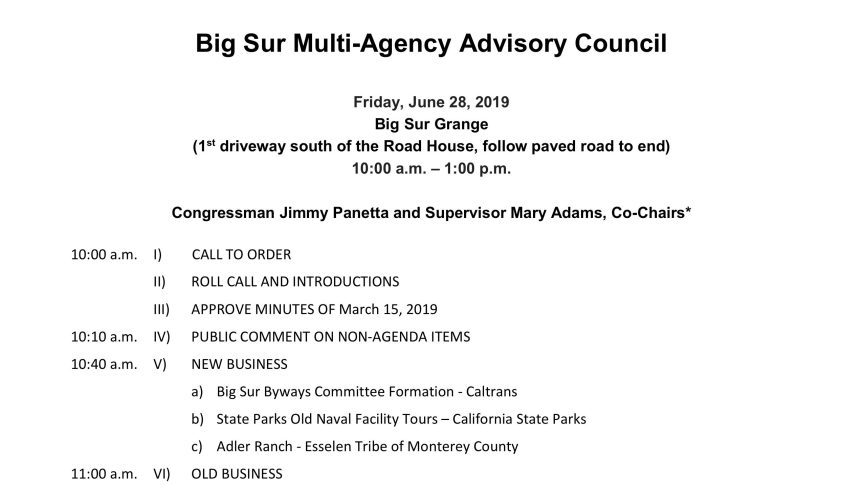 Big Sur Multi-Agency Advisory Council Agenda for 6/28/19