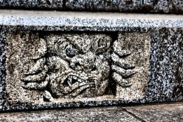 What lurks under the stairs... Musashimitake Shrine; Tokyo Japan