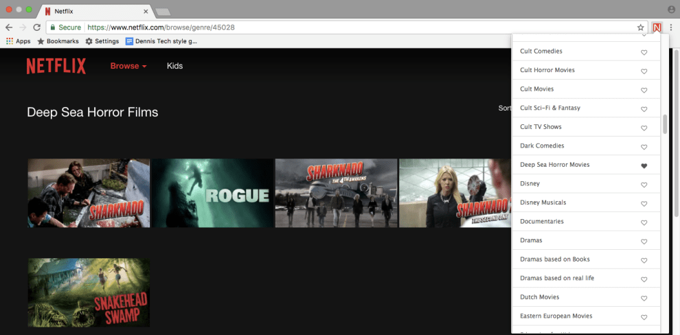 Hidden Netflix categories