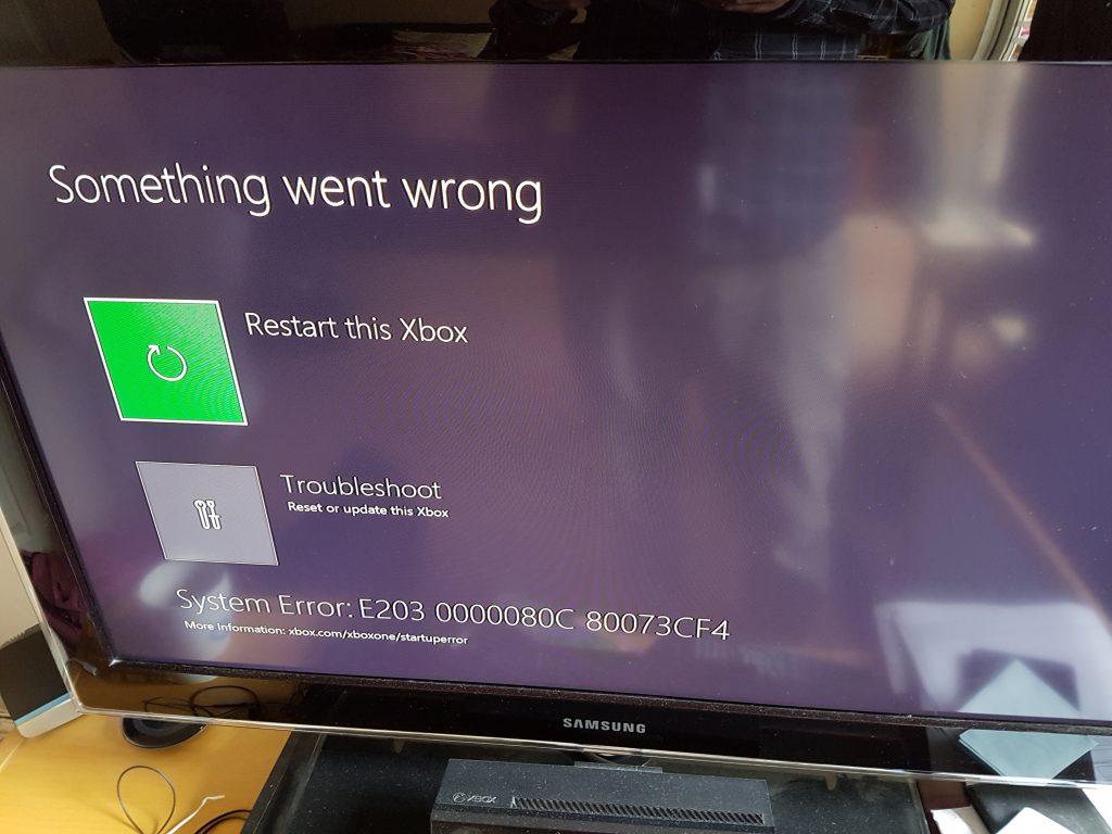 E203 error on an Xbox One