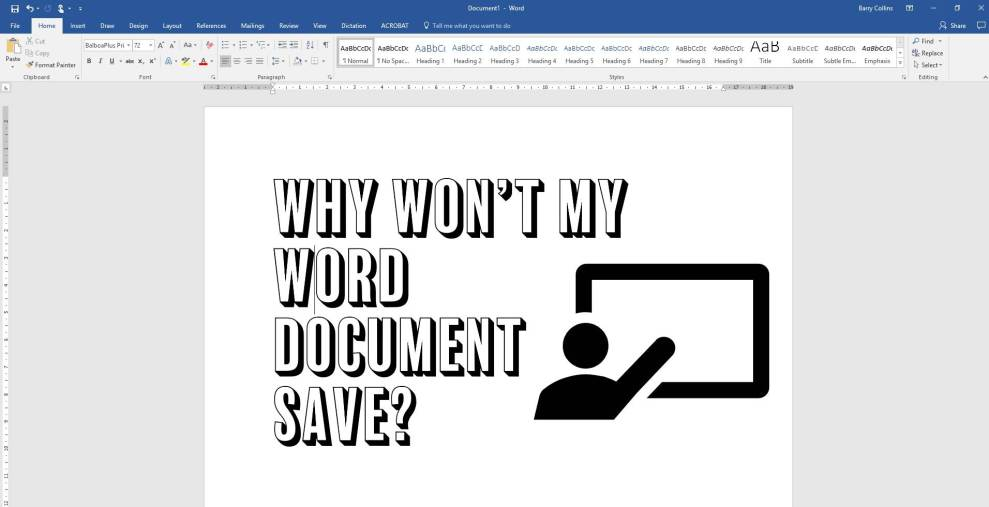 Why won't my Word document save