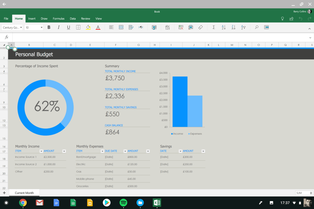 Excel Android app