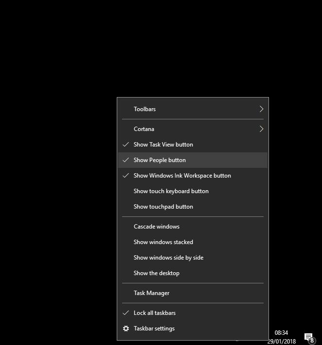 Get rid of People in Windows 10