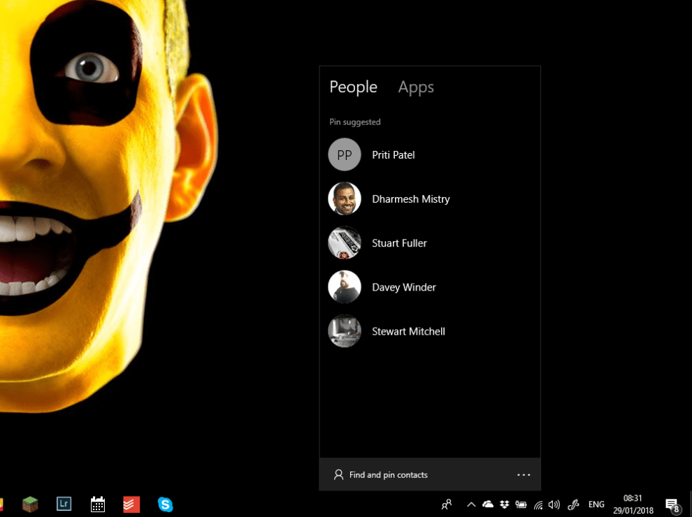 Get rid of People in Windows 10