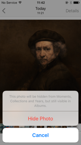 How can I hide photos on my iPhone?