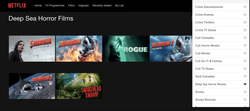Hidden Netflix categories