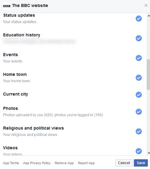 BBC Facebook data