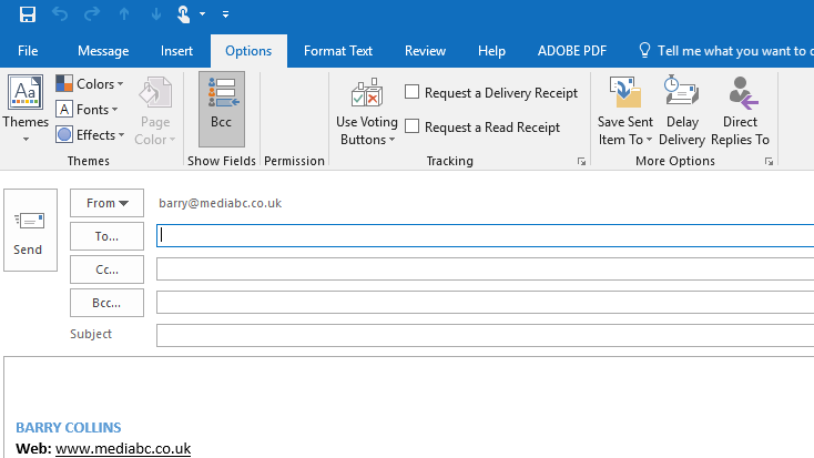 Add bcc field to Outlook emails