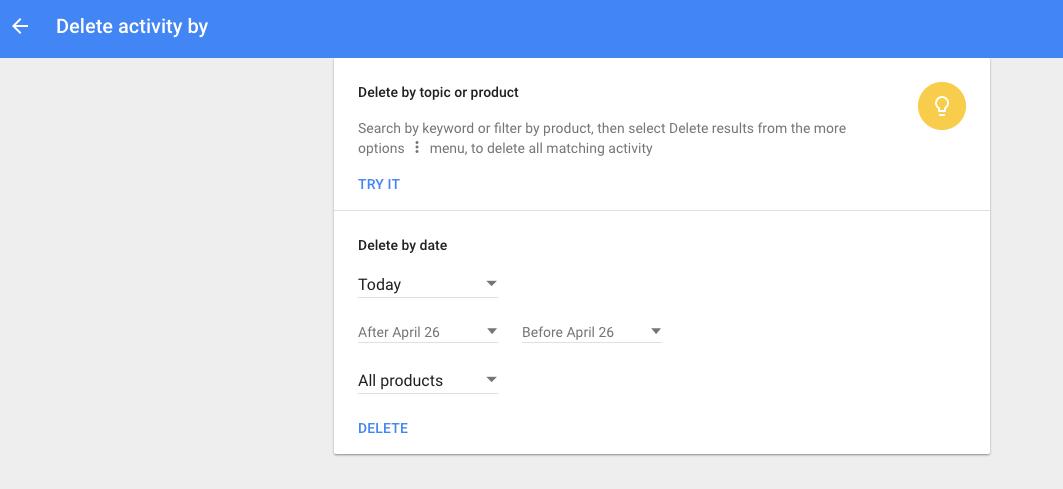 Delete Google data