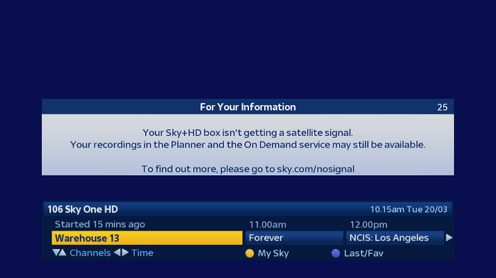 solve Sky+ satellite signal problems