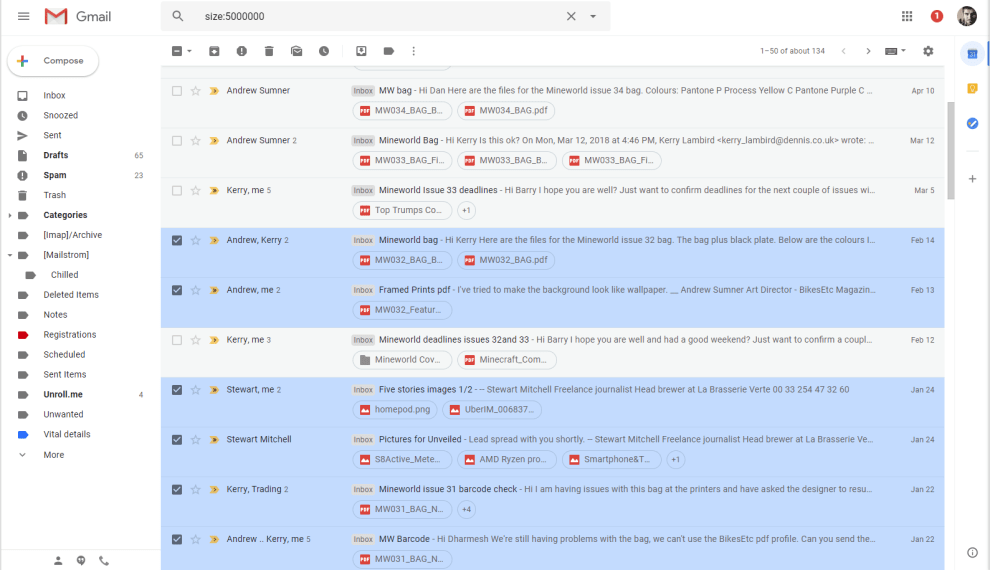 Clear space in my Gmail inbox