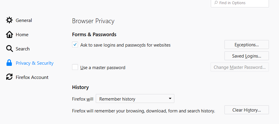 Firefox passwords