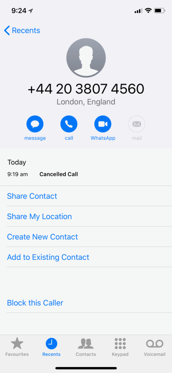 block a number on your iphone