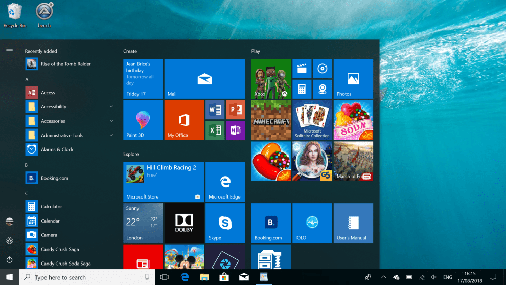 customise windows start menu