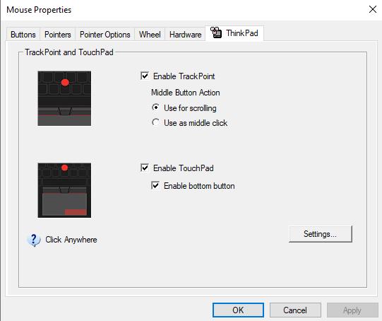 disable a lenovo touchpad