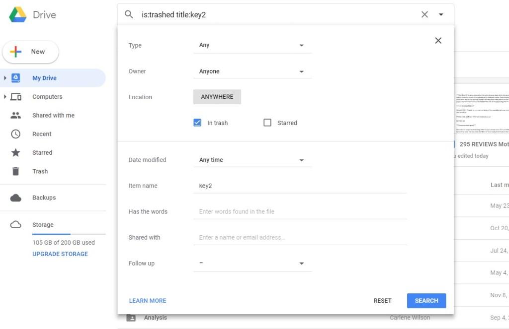 Restore Google Drive file