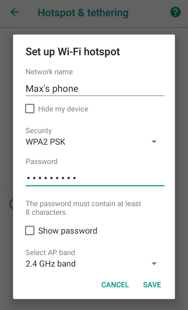 Share Android Wi-Fi hotspot