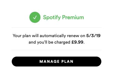 Spotify Premium manage plan