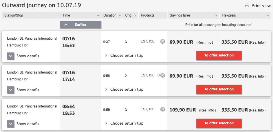 Deutsche Bahn list of fares